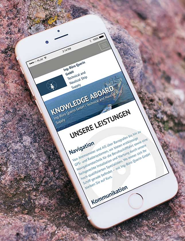 Website Professional Querin Smartphoneansicht